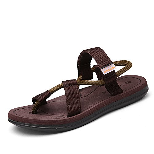 VILOCY Men's Women's Elastic Strap Sandals Anti Skid Casual Couple Beach Flat Sandals Slippers Flip Flop Brown,45 EU by VILOCY