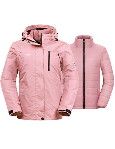 Wantdo Women's 3-in-1 Waterproof Ski Jacket Windproof Winter Snow Coat Raincoat
