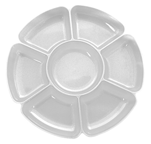 Party Essentials Hard Plastic 16-Inch Round 7-Section Serving Tray, Crystal Clear, Single Unit