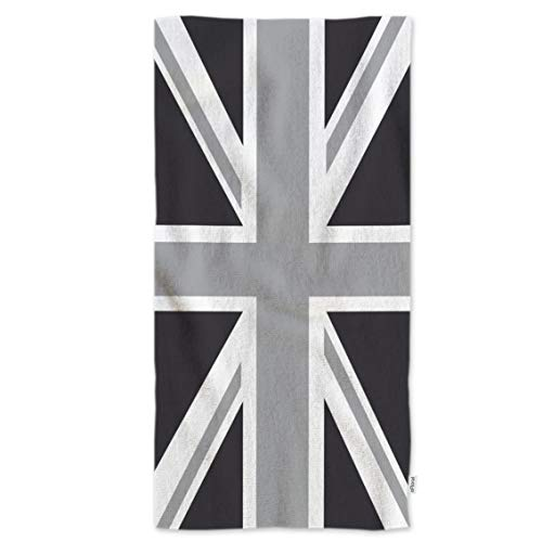 oFloral Hand Towels United Kingdom UK Flag Aka Union Jack in Black White,Soft Comfortable Super-Absorbent Towel for Bath/Kitchen/Yoga/Golf/Hair Towel for Men/Women/Girl/Boys 15X30 Inch (Best Home Hair Dye Uk)