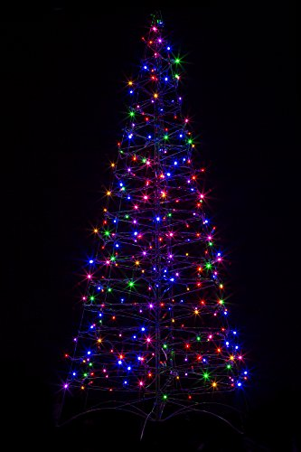 Pre-Lit LED 6'Folds Flat Collapsible Outdoor Christmas Tree w 250 Multi Lights-Imported