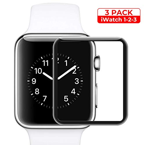 Screen Protector for Apple Watch 38mm Series 3/2/1 Compatible Max Coverage Anti-Bubble HD Clear with Lifetime Replacement Warranty 3Pack