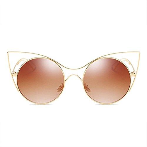 CENDA Women Cat Eye Ultra Thin Light Metal Frame Sunglasses Round Metal Cut-Out Flash Mirror Lens - Sunglasses Eye Celebrity Cat