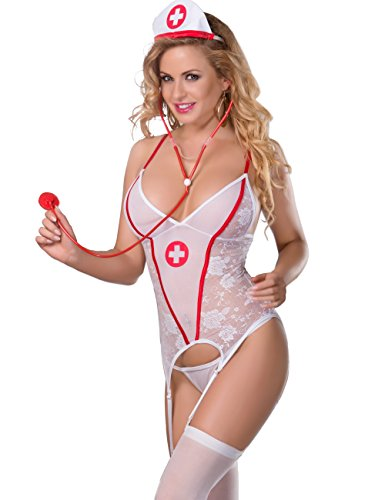 xspice Nurse Costume Women Lingerie Set Cosplay Nightwear Outfit with Hat (L/XL) -