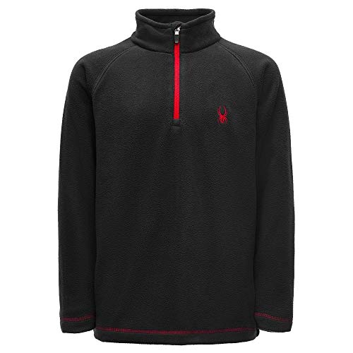 Spyder Boys' Speed Fleece Top, Black/Red, Large