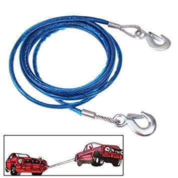 Uniqus 5 Tons Steel Vehicle Towing Cable Rope, Length  4m(bluee)