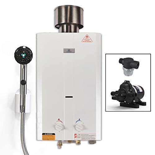 (Eccotemp L10 Portable Tankless Water Heater w/EccoFlo Pump, Strainer & Shower set)