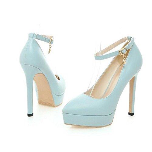 a Zapatos de Delgada Agua con Corte Mujer Beige Alto 39 Oficina XIE Hebilla de de Tacón Damas Prueba de BLUE Smart la 43 Zapatos Boda Plataforma Zapatos de la de qx5IW6B