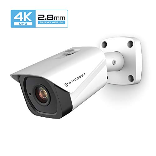 Amcrest UltraHD 4K (8MP) Outdoor Bullet POE IP Camera, 3840x2160, 131ft NightVision, 2.8mm Lens, IP67 Weatherproof, MicroSD Recording, White (IP8M-2496EW-28MM)