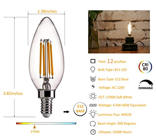 B11 E12 LED Candelabra Base Bulbs 60W Equivalent - FLSNT 4.5W Dimmable LED Candle Light Bulbs - 2700K Soft White,450LM,CRI80 - Pack of 12