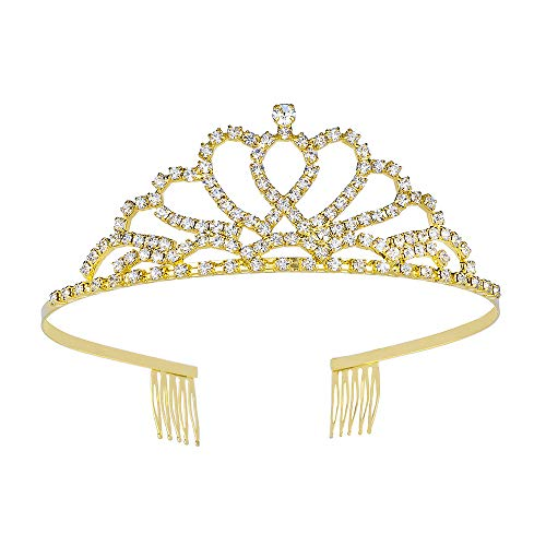 Metal Crystal Crown with Side Combs, Double Heart Design Gold Plated Headband Hair Tiara for Girls -