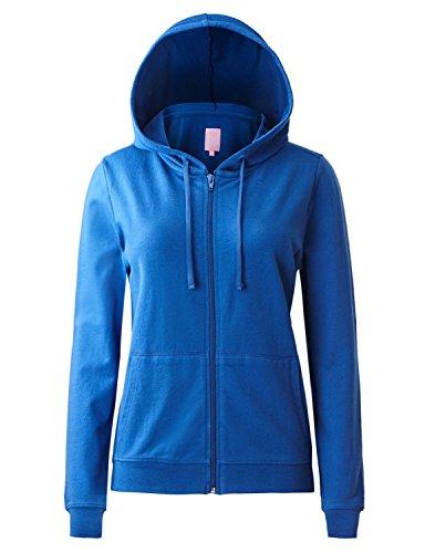 Regna X Women's Long Casual Loose Plus Size Full Zip Hooded Sweatshirt Blue S