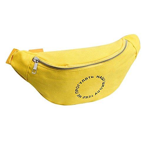 Ecotrump Canvas Waist Chest Pack Women Casual Shoulder Satchel Bag Fanny Belt Pouch Yellow