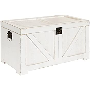 Kate And Laurel Cates Classic Farmhouse Small Wooden Storage Chest, Antique  White With Vintage Brass Hardware, 28 X 14.5 X 14