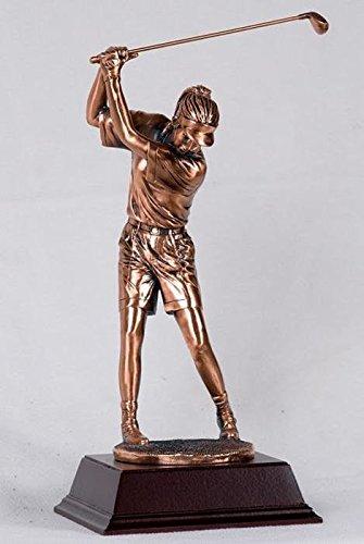 StealStreet SS-BA-C1369E, 12 Inch Medium Copper Woman Golfer with Club Teeing Off Display Statue