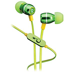 iHome iB18QY Noise Isolating Metal Earphones with In-line Mic, Remote and Pouch Lemon Lime