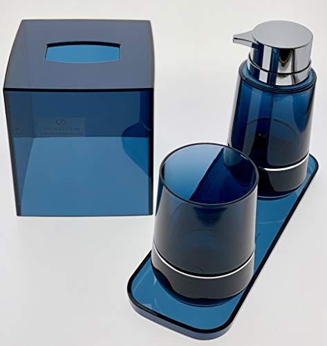Decozen Set of 4 Pcs Bathroom Accessories Set in Blue Double Strip with TumblerLotion Dispenser Square Tray Tissue Box Bathroom Decor Accessory Set