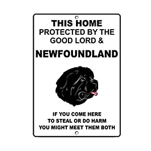 Fastasticdeals Newfoundland Dog Home Protected by Good Lord and Novelty Metal Sign 10
