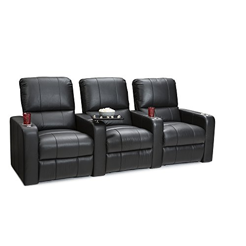 Seatcraft Millenia Home Theater Seating Power Recline Leather (Row of 3, Black)