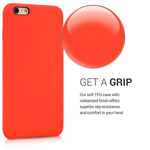 kwmobile TPU Silicone Case Compatible with Apple iPhone 6 Plus / 6S Plus - Soft Flexible Rubber Protective Cover - Cherry Tomato