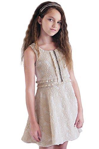 Hannah Banana Big Girls Embellished Floral Lace Dresses (Many Options) 7-16 (8, Gold) -