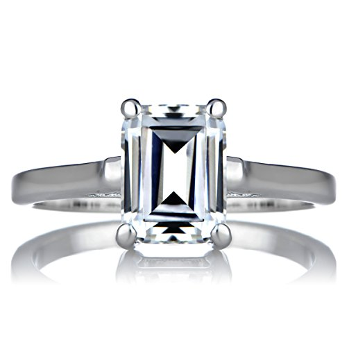 Signity CZ Engagement Ring - Step Emerald Cut Shape (Signity Cubic Zirconia Stone)