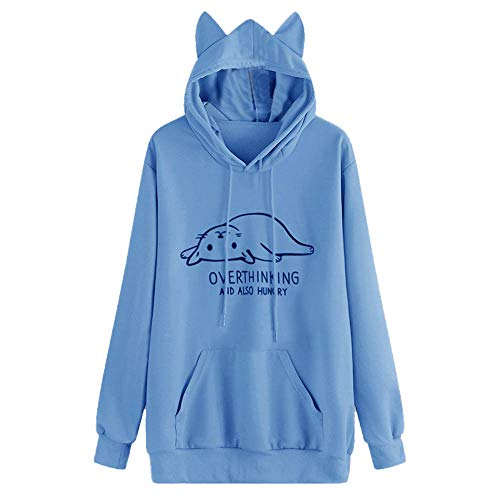 VEZAD Women Long Sleeve Print Casual Hooded Sweatshirt Pullover Top Blouse ()