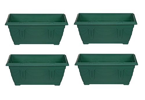 4 x Small Plastic Venetian Window Box Trough Planter Plant Pot 40cm Forest Green Whitefurze