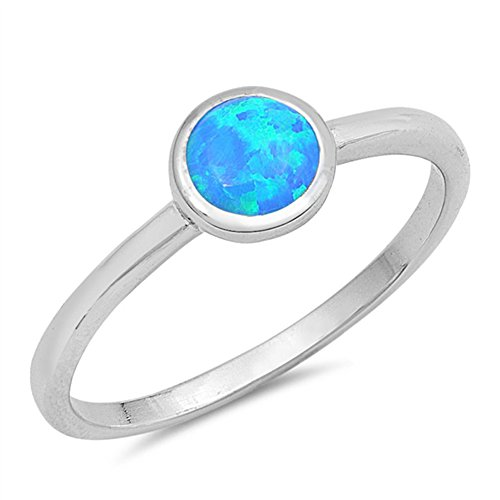 Round Blue Simulated Opal Unique Ring New .925 Sterling Silver Band Size 6 ()