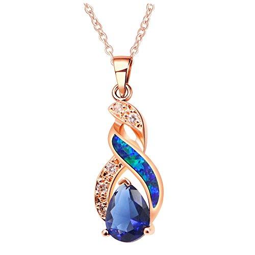 Sinlifu Charming Teardrop Sapphire Opal Topaz CZ Silver Plated Pendant Necklace Chain 18'' (Rose Gold Plated: Blue - Plated Pendant Gold Drop