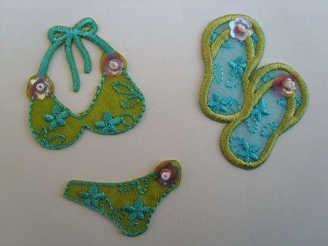 3-er Set Sommer Badeschuhe Bügelbilder Bikini Badehose Aufnäher Sticker Applikation