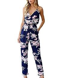 Women's Elegant Sleeveless Deep V-Neck Floral Print Pants Romper Jumpsuit