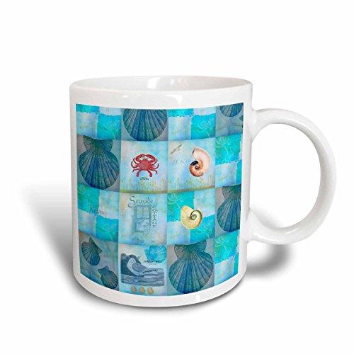 (3dRose Aqua Beach Seashell Collage Art Mug, 11-Ounce)