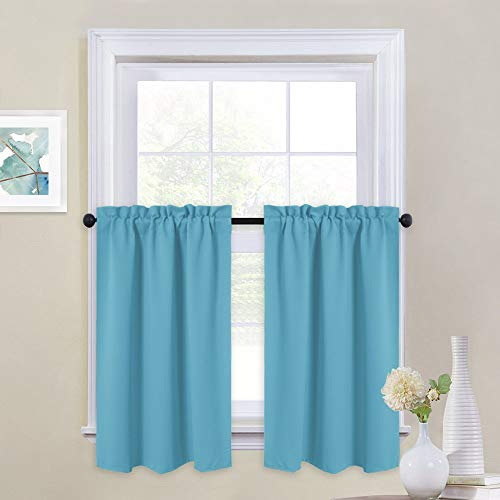 NICETOWN Insulated Blackout Window Valances - Energy Efficient Home Decor Tier Curtains for Bedroom (29 by 24 inches, Teal Blue=Light Blue, 2-Pack)