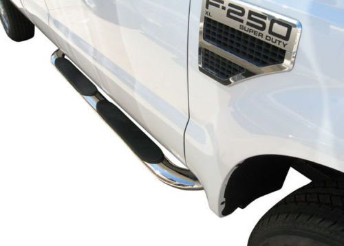"STEELCRAFT 412468P 99-15 FORD F250/350/450/550 SUPER DUTY CREW CAB 4"" OVAL BEND SIDE BAR ALL Stainless SteelSide Step Nerf Bar Running Board"