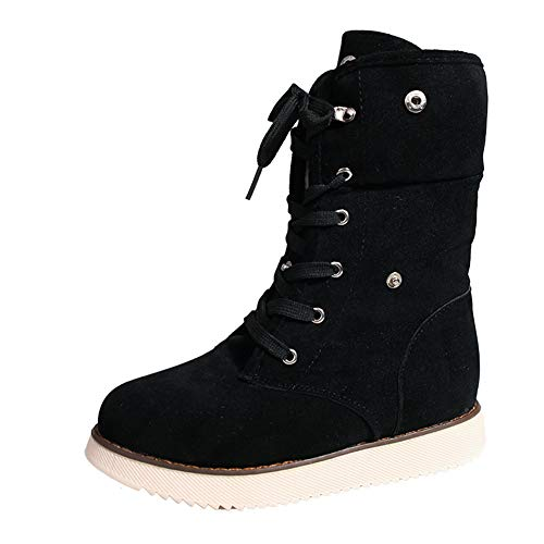 DETAIWIN Women Snow Boots Suede Lace Up Warm Mid Calf High Cross Tied Winter Boots
