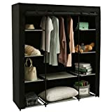 Homebi Clothes Closet Portable Wardrobe Durable Clothes Storage Organizer Non-Woven Fabric Cloth Storage Shelf with Hanging Rod and 10 Shelves for Extra Storage, 59.05' W x 17.72' D x 65.4' H (Black)
