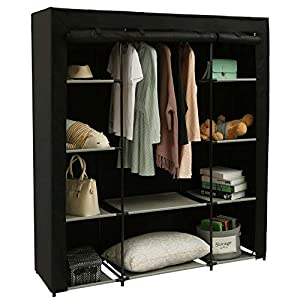 Homebi Clothes Closet Portable Wardrobe Durable Clothes Storage Organizer Non-Woven Fabric Cloth Storage Shelf with…