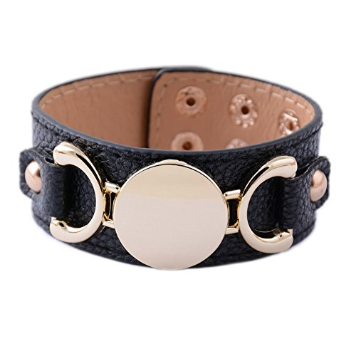 Rainbery PU Leather Cuff Bracelet Blank Monogram Jewelry Cuff Women Leather Bracelet (Black Gold)