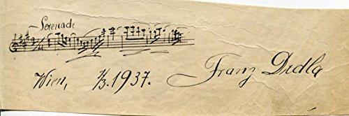 COMPOSER Frantisek Drdla autograph musical quotation signed