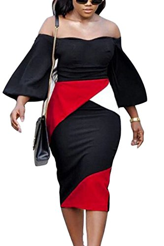 Nightclub Off Dress Red The Shoulder Domple Women's Stylish Long Bodycon Color Block Zqw58xv