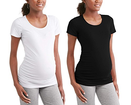 RUMOR HAS IT Maternity Ruched Sides Scoop Neck Short Sleeve T-Shirt Top (Available in Plus Sizes) (Large, Black-White (2 Pack))