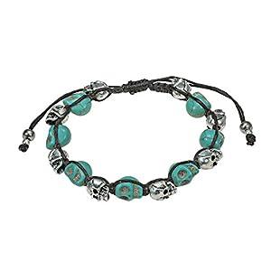 Smiling Skulls Shamballa Simulated Turquoise Bracelet