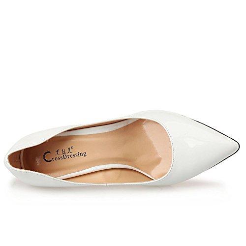 L@YC Frauen High Heels PU Frühling Herbst Komfort Spitz für Casual Weiß Silber Gelb Rot White