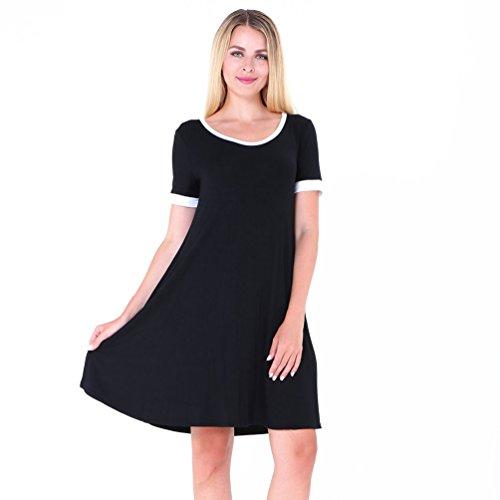 NiSeng Mujer T-Shirt Vestido Verano Casual Cuello Redondo Mangas Cortas Suelto Mini Vestido Negro