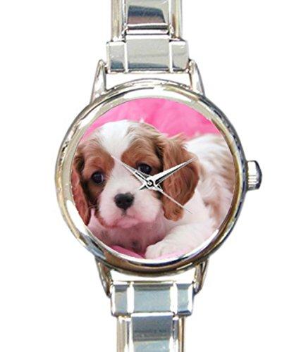 (Coolstuffs Cavalier King Charles Spaniel Puppy Women Watches Italian Charm Watch Strap Quartz Sliver Wristwatch)