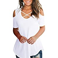 Smalnnie Women's Criss Cross Cold Shoulder V Neck Short Sleeve Summer T Shirts