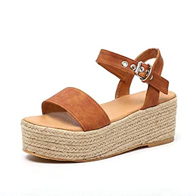 YYW Women's Ankle Strap Platform Wedges Sandals Casual Open Toe Espadrilles Platform Sandals for Summer Brown Size: 7.5