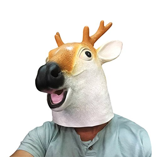 [HRToys Deluxe Novelty Halloween Costume Party Latex Animal Head Mask (Deer)] (Deer Deluxe Latex Mask)
