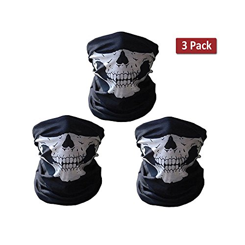3 Pack Seamless Skull Face Mask Outdoor Scarf with Fangs Tube Bandana Balaclava for Cycling,Motorcycle, Skiing, Riding (White Skull Ski Mask)